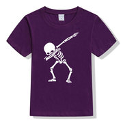 Skull Print Kids Short Sleeve Cotton T-Shirt For 1-15Years
