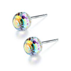 925 Sterling Silber Ohrringe Luxus bunten Rubin leuchtenden Crystal Ball Cute Ohrringe Geschenk für Frauen