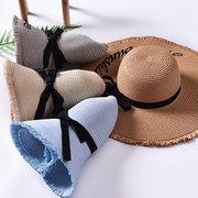 Damen Sommer faltbare breite Krempe Panama Stroh Hut Stickbrief Reise Sonnenschutz Strand so Huts