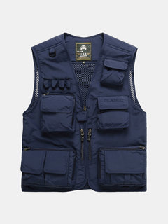 Outdoor Fishing Reporter Photography Loose Multi Pockets Vests for Men
