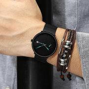 Moda Men Quartz Assista Dial Simples Cor Brilhante Agulha Dia Mostrador Fino Relógio De Quartzo