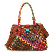 Women Multi-Color Weave Genuine Leather Hasp Handbag Shoulder Bag Crossbody Bag