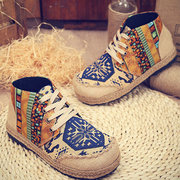 Vintage Colorful Pattern Canvas Boots