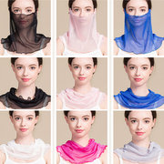 Female Thin Silk Breathable Durable Outdoor Sunscreen Dust Prevention Sunscreen Small Scarves