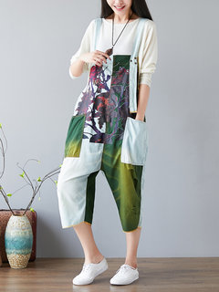 Casual Printed Colorblocked  Denim Strap Jumpsuits for Women