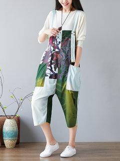 Casual impreso Colorblocked Denim Strap Buzos para mujeres