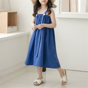 Solid Color Girls Strap Denim Slip Dress For 4-15Years