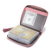 Zuoerdanni Tassel 40 Card Holder Genuine Leather Short Purse Portable Zipper Wallets