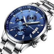Homens De Moda Estilo De Negócios Completa De Aço Calendário À Prova D 'Água Relógio Relógio De Quartzo