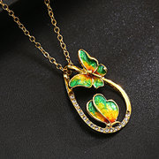 Luxury Butterfly Pendant Necklaces Butterfly Rhinestones Drop Statement Necklaces Gift for Women