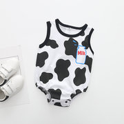 Baby Cartoon Print Sleeveless Rompers For 0-18M
