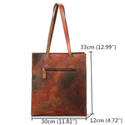 Vintage Genuine Leather Women Handbags High Capacity Handmade Brush Color Shopping Bags