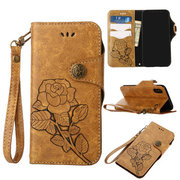 Women Rose Embroidery Card Holder Phone Bag For Iphone