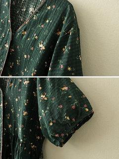 خمر الأزهار طباعة الخامس الرقبة المرقعة الرباط منزعج قميص قصير الأكمام