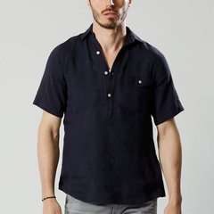 Mens Breathable Chest Pocket Turn Down Collar Short Sleeve Loose Henley Shirts