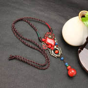 Women's Retro Necklace Ethnic Vintage Ceramic Agate Necklace