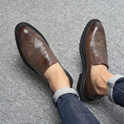 Men Carved Microfiber Leather Tassel Non-slip Slip On Casual Formal Shoes