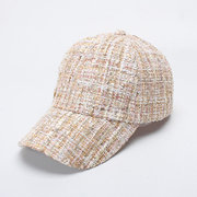 Womens Solid Color Tweed Baseball Cap Snapback Caps Outdoor Casual Sport Sunscreen Peaked Cap