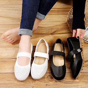 Women Splicing Hook Loop Breathable Soft Flat Shoes