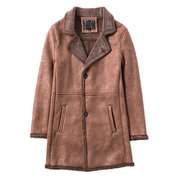 Mid Long Winter Faux Chamois Leather Trench Coat Thicken Jacket for Men
