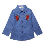 2pcs filles broderie rose fleurs vêtements ensemble chemise + jupe ensemble pour 1Y-7Y