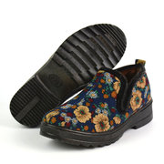 Vintage Flower Print Fur Warm Boots