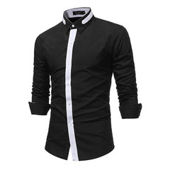 Patch Slim Fit Business Turn Turn col chemise pour les hommes