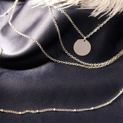 Bohemian Multi-layer Tassel Chain Necklace Circle Pendant Alloy Necklace for Women