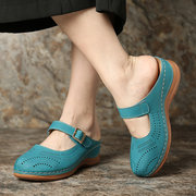 LOSTISY Metal Buckle Hollow Out Open Heel Casual Wedges Sandals