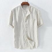 Mens cotone breve colore puro traspirante moda manica corta stand colore causale Camicia