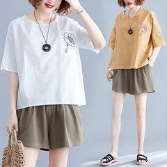Qx6688 Рубашка из хлопка и льна Новая женская свободная сплошная цветная вышитая футболка Женский с короткими рукавами из льна