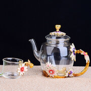 7pcs/set Creative Small Daisy Enamel 1 Teapot with 6 Cups Heat-resistant Crystal Glass Teapot Set