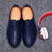Men Microfiber Leather Business Stitching Slip On Casual Shoes