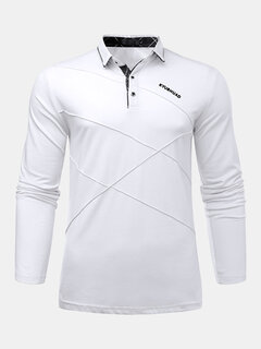 Mens Fashion Golf Shirt Solid Long Sleeve Turndown Collar Slim Fit Casual Cotton T Shirt