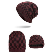 Mens Square Lattice Wool Velvet Knitted Hat Warm Good Elastic Hat Winter Outdoor Casual Beanie