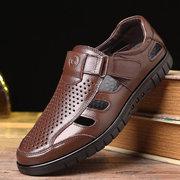 Sandálias De Couro Oco Respirável De Hook Loop Para Homem
