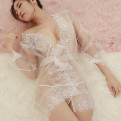 Women Sexy Opening Crotch Transparent Lace Bra And Panty Set