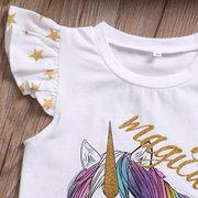 Animal Impresso com Bonito Bola Decoração Bebê Infantil Meninas Romper / T shirt Irmã Roupas