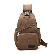 Vintage Canvas Casual Multi Pocket Cross Body Shoulder Chest Bag For Men