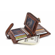 RFID Women Genuine Leather 10 Card Slot Wallet Brush Color Coin Purse