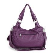 Women Multi-Pockets Rivet Soft Leather Crossbody Bag Shoulder Bag