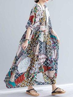 Summer Ethnic Print Élastique Taille Lâche Plus Taille Maxi Dress