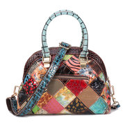 Women Genuine Leather Bohemian Floral Crossbody Bags Vintage Patchwork Shell Handbags