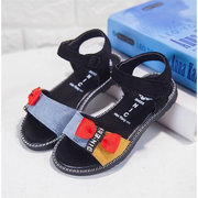 Girls Splicing Bowknot Decor Hook Loop Lovely Flat Sandals