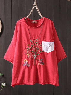 Vintage Embroideried Short Sleeve Pocket T-Shirt