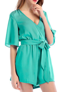 Sexy Deep V-neck Chiffon Half Sleeve Short Jumpsuits