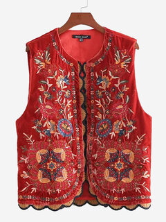 Velvet Front Embroidery Patchwork Red Casual Vest Coat