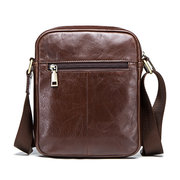 Men Genuine Leather Business Casual Vintage Large Capacity Crossbody Bag