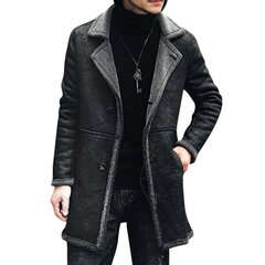 Mid Long Winter Faux Chamois Leather Trench Coat Engrossar Jacket for Men