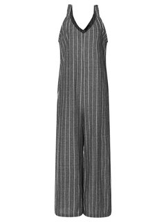 Casual Striped Straps V-neck Wide Leg Jumpsuit